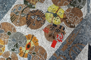 """Bosna"" mosaic, heads (detail)"
