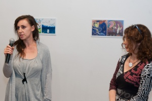 Aleksandra Knezević (left), organiser of the show in Sarajevo, at the opening